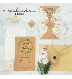 Forest with Lace Style Invitation Card