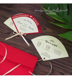 Hand fan Style Invitation Card