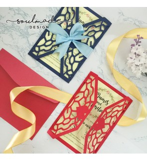 Intricate Die-cut Invitation Card (Ribbon)
