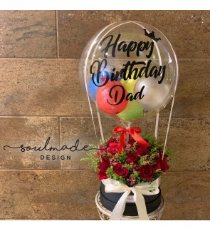 Hot Air Balloon themed Roses Greeting Gift